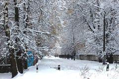 在雪的路 下雪在冬天 免版税库存照片