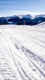 在雪的轨道与山 库存图片