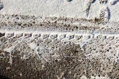 在雪的轨道,冬天 库存图片