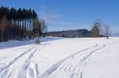 在雪的轨道 免版税库存图片