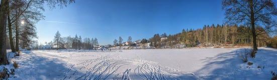 在雪的轮胎标记 免版税库存图片