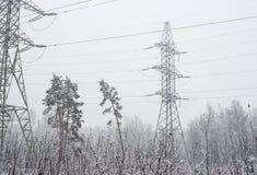 在雪的输电线 库存图片