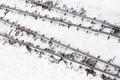 在雪的铁路线 图库摄影