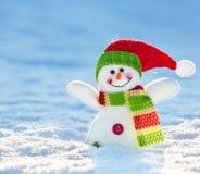 在雪的雪人 图库摄影