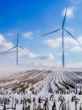 在雪的风车 免版税图库摄影