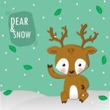 在雪的鹿 免版税库存照片