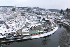 在雪的Krumlov 免版税库存图片