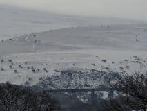 在雪的Meldon高架桥与Longstone小山在背景中, Dartmoor 库存图片