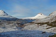在雪的Stac Pollaidh,苏格兰高地 免版税库存照片