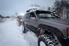 在雪的Suv 库存图片