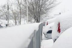 在雪盖的停放的汽车 库存图片
