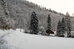 在雪盖的农舍在冬天期间 库存照片