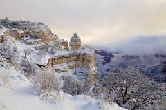 在大峡谷的积雪的风景 免版税库存照片