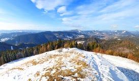 在雪盖的小山反对山脉 免版税图库摄影