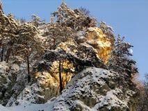在雪盖的小山 免版税库存图片