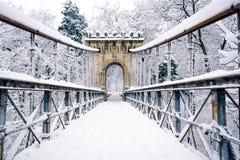 在雪盖的桥梁 库存图片