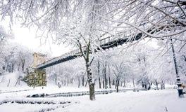 在雪盖的桥梁 库存照片