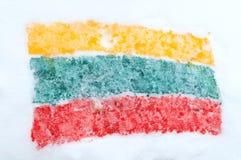 在雪绘的立陶宛标志 免版税库存照片