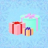 在雪背景的圣诞节礼物在减速火箭的样式,传染媒介il 免版税库存图片