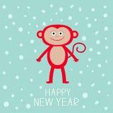 在雪背景的逗人喜爱的红色猴子 新年快乐2016年 婴孩例证 贺卡平的设计 免版税图库摄影