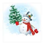 在雪背景的雪人 免版税库存照片
