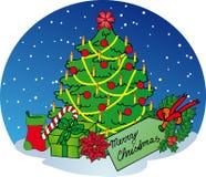 在雪背景的Xmas结构树 免版税库存图片