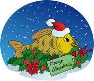 在雪背景的Xmas鲤鱼 图库摄影