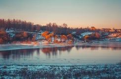 在雪自然的冬天风景 库存照片