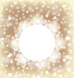 在雪花做的圣诞节圆的框架在典雅发光后面 免版税库存照片