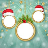 在雪花背景的圣诞节框架 库存照片