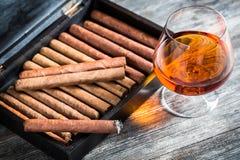 在雪茄盒和科涅克白兰地的雪茄 库存图片