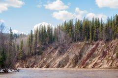 在雪融解期间的陡峭的河岸 免版税库存图片