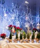 在雪装饰的圣诞老人项目 图库摄影