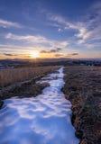 在雪附近的日落 库存图片