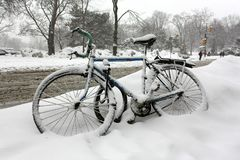 在雪风暴以后的自行车 库存图片