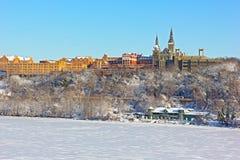 在雪风暴以后的美国首都 库存图片