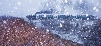 在雪风暴的蒸汽火车 库存照片