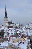 在雪,爱沙尼亚下的塔林中世纪老镇 库存照片