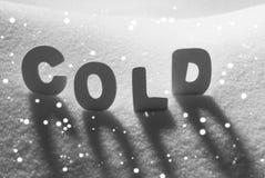 在雪,雪花的白色词寒冷 免版税图库摄影