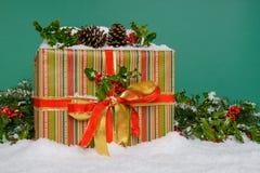 在雪绿色背景的圣诞节礼物 库存照片