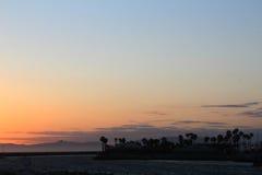 在雷东多海滩的晚上阳光 免版税库存照片