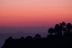 在雷东多海滩的晚上阳光 图库摄影