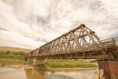 在雷德迪尔河的东部Coulee桁架桥 库存照片