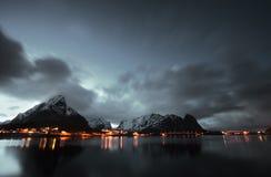 在雷讷, Lofoten海岛的日落 库存图片