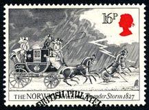 在雷暴英国邮票的诺威治邮件 库存照片