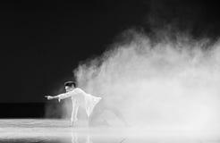 在雾和阴霾现代舞蹈的奋斗 库存图片
