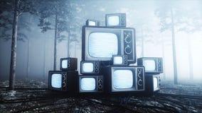 在雾夜森林恐惧和恐怖的老古董电视 Mistic概念 广播3d翻译 皇族释放例证