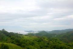 在雾的山绿色视图 库存图片
