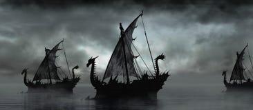 在雾的幻想小船 库存例证