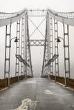 在雾的桥梁在基辅乌克兰 免版税库存照片